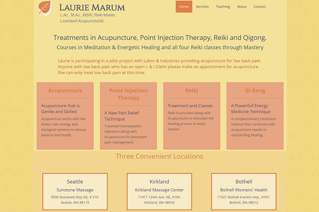 Laurie Marum, Acupunture